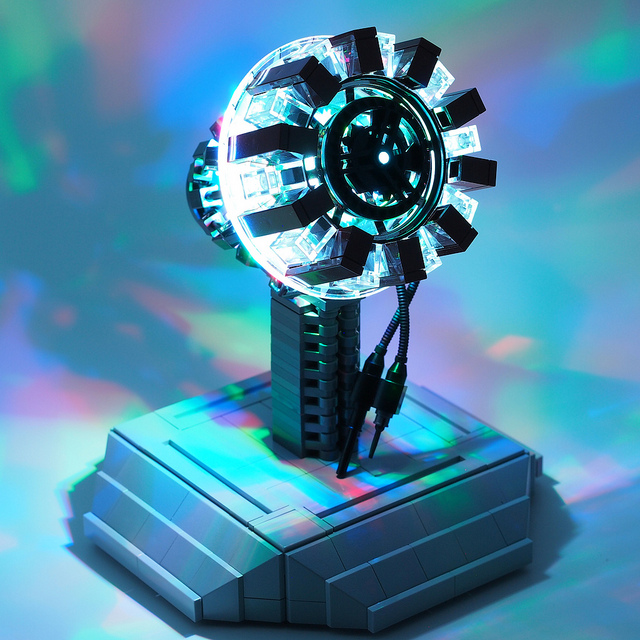 Iron Man's arc reactor made from legos