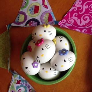Hello Kitty hard boiled eggs. I have to do this for Easter!