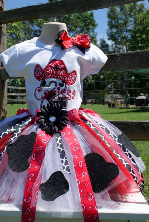 COWGIRL Party Outfit with Cowprint Birthday Party by TutuKute