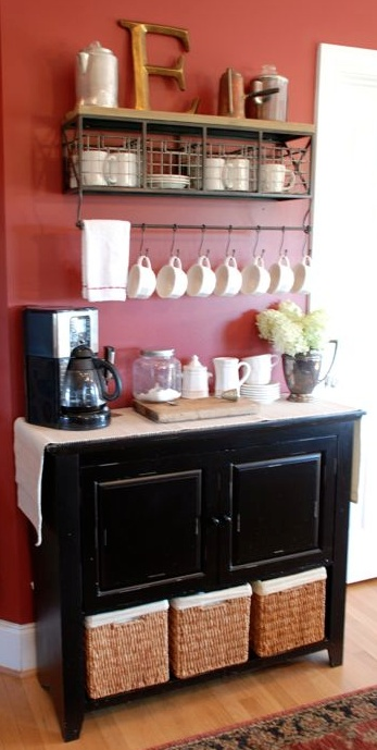 Coffee bar. ♥ this is really cute… would clear up counter space!