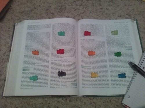"""""""When taking notes for classes, do this. When you reach a gummybear, eat i"""