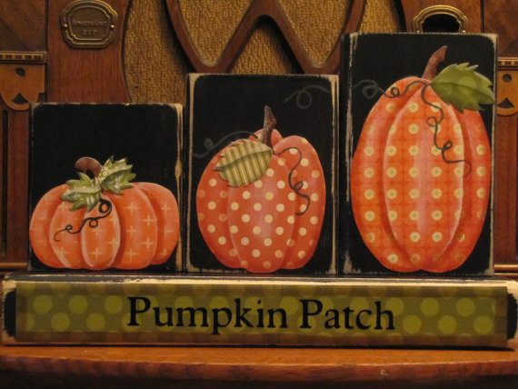 Pumpkin Patch Blocks Fall and Thanksgiving Decor Sign.