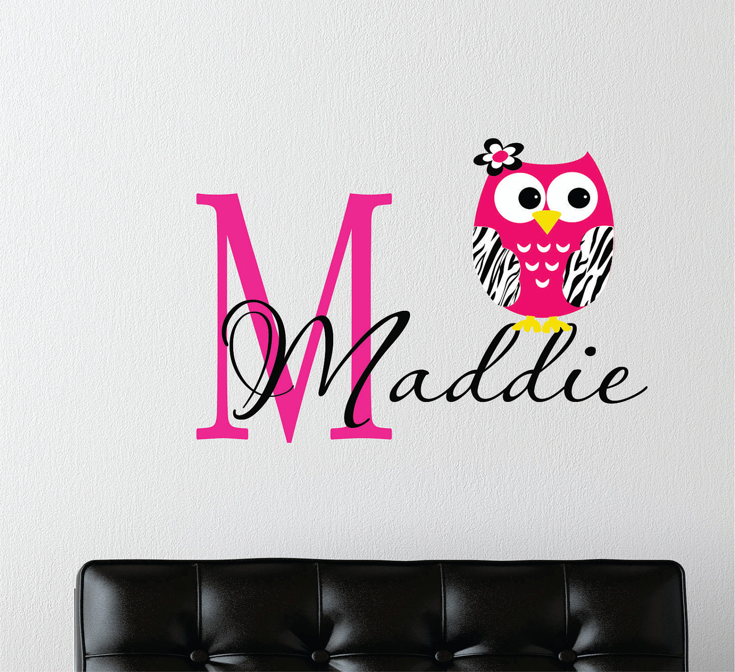 Childrens decor zebra owl wall decal with name baby for Decoration zebre