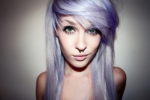 septum piercing and lavender hair