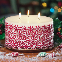 Hot glue gun peppermint candles to an unscented or vanilla candle. When the cand
