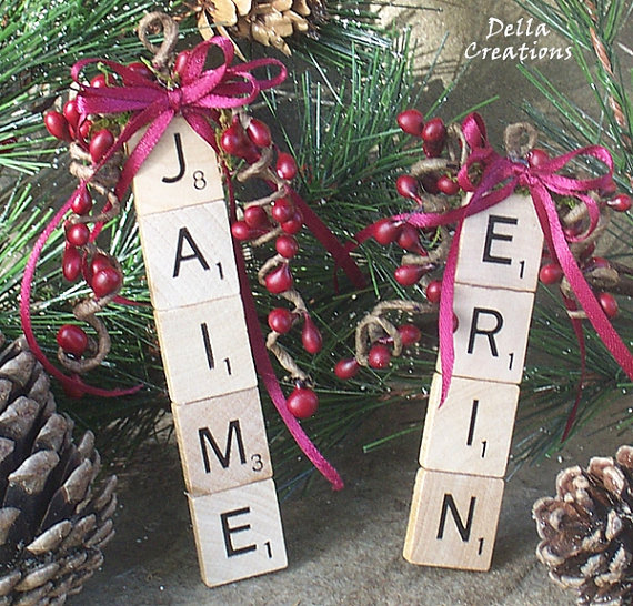Scrabble Name Ornaments, doing this for Christmas :)
