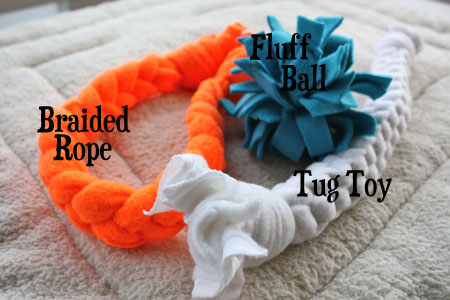 Dog Toys: fluff ball, braided rope, and tug toy