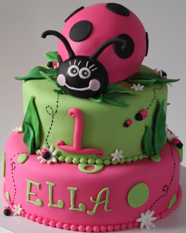 Love this lady bug first birthday cake.