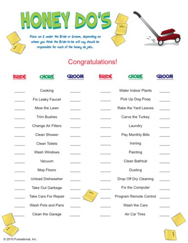 Honey Do's! – Bridal Shower Game | We Know How To Do It