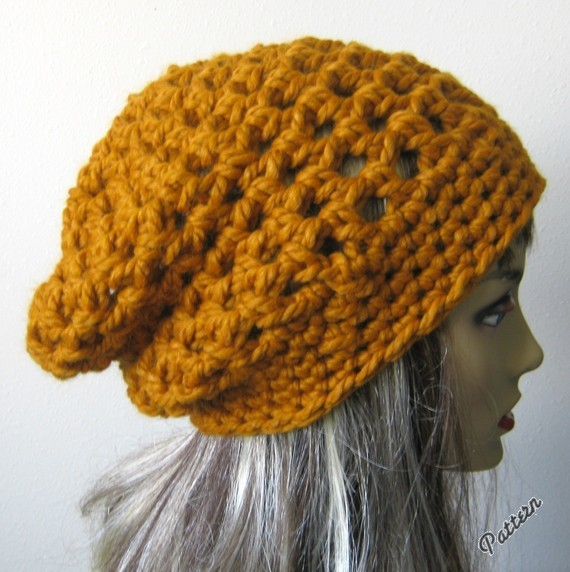 Cute PDF PATTERN-Crocheted Chunky Mesh Slouchy Hat for ...