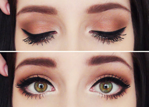 Как увеличить карие глаза с помощью макияжа пошагово
