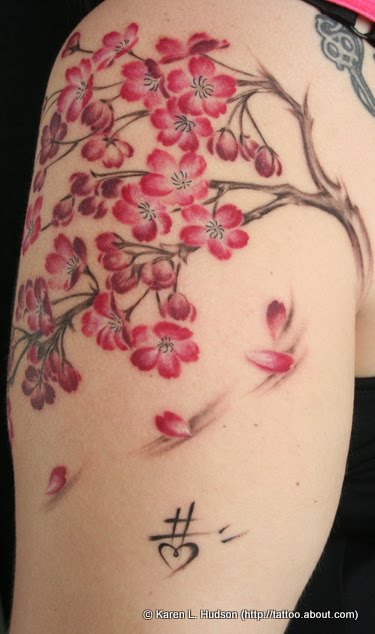 cherry blossom tree tattoos we know how to do it. Black Bedroom Furniture Sets. Home Design Ideas