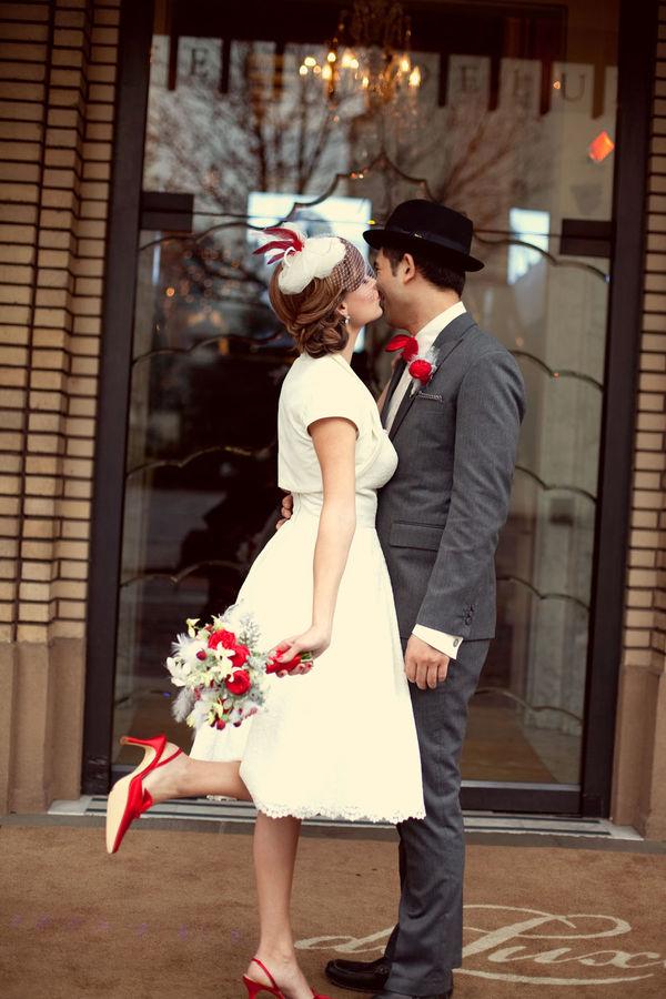 winter retro wedding vintage bride groom pinup