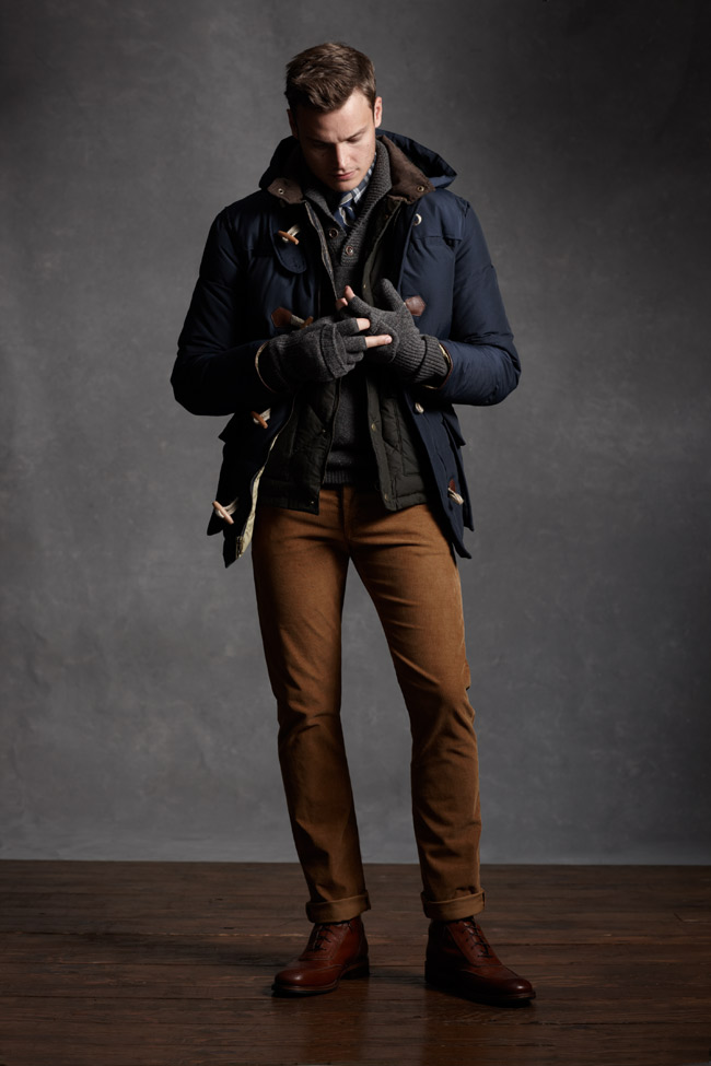 Layered mens winter/fall look, navy coat, black quilted jacket, grey sweater, gr