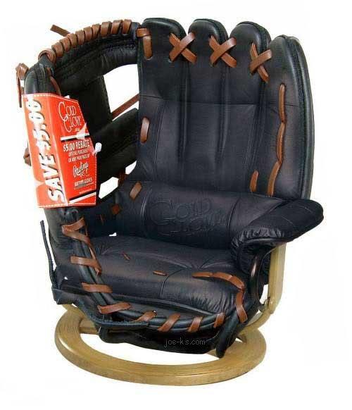 Whoa Nellie! A Bar Room Baseball Glove Chair