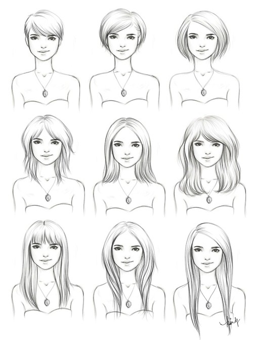 Прически для рисунка на девушку