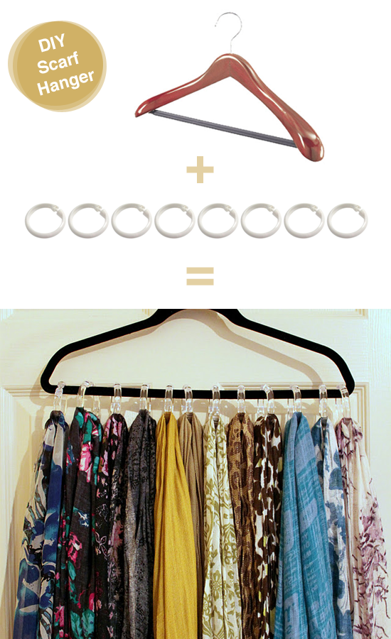 DIY Scarf Hanger With Shower Curtain Hooks And