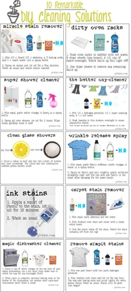 10 remarkable diy cleaning solutions: miracle stain remover; oven rack cleaner;