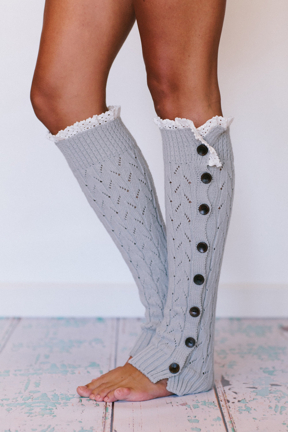 Lacy Knitted Leg Warmers Button Down Platinum Gray