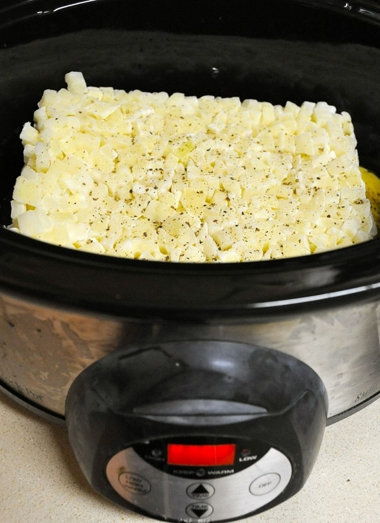 Paula Dean's crockpot potato soup recipe. Combine 1 bag frozen hash browns,