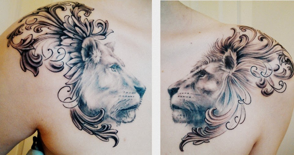 Lion and lioness chest piece. done by Matt Cowell at House of Tattoo in Tacoma,