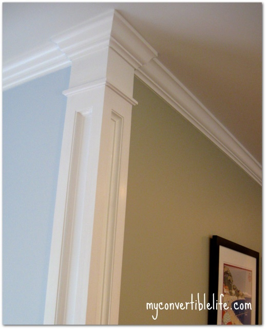 Add trim work at the corner of the room to create a column effect. helps separat