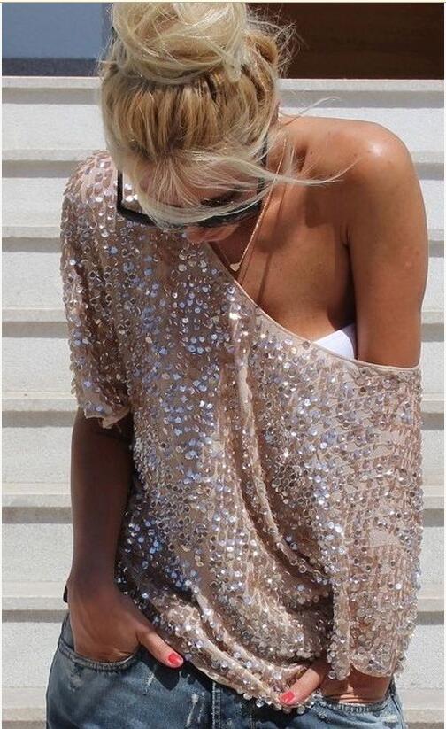 Elegant T shirt Women Sequined Sequins