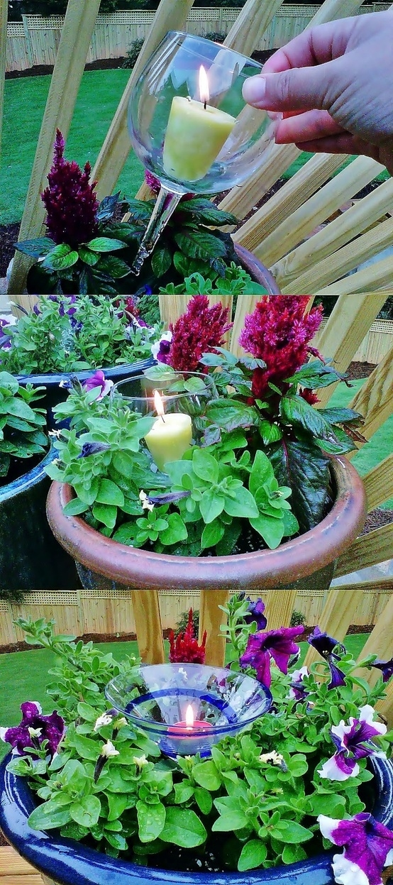 Use any broken stemware as candle holders in plants.