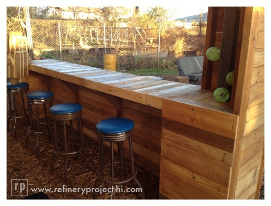 Pallet furniture projects in different ideas and plans for Diy backyard bar