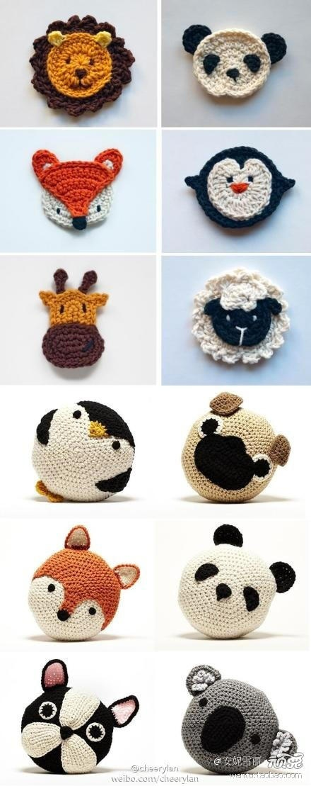 Adorable crochet animal cushions.