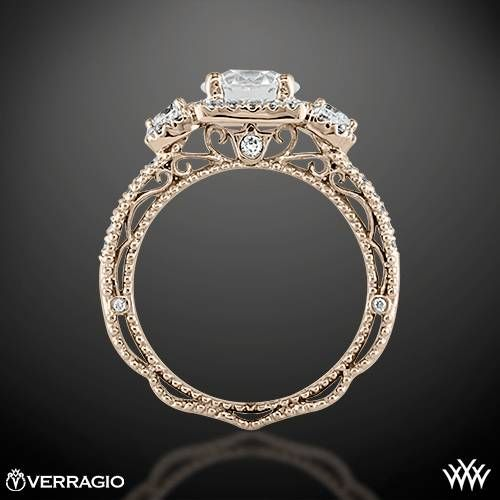 Verragio Triple Halo 3 Stone Engagement Ring