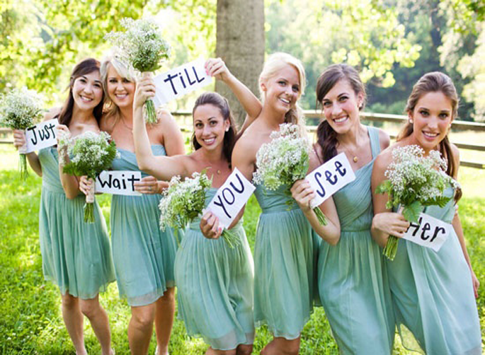 Snap this shot of your 'maids and have one of them text it to the groom! Cut