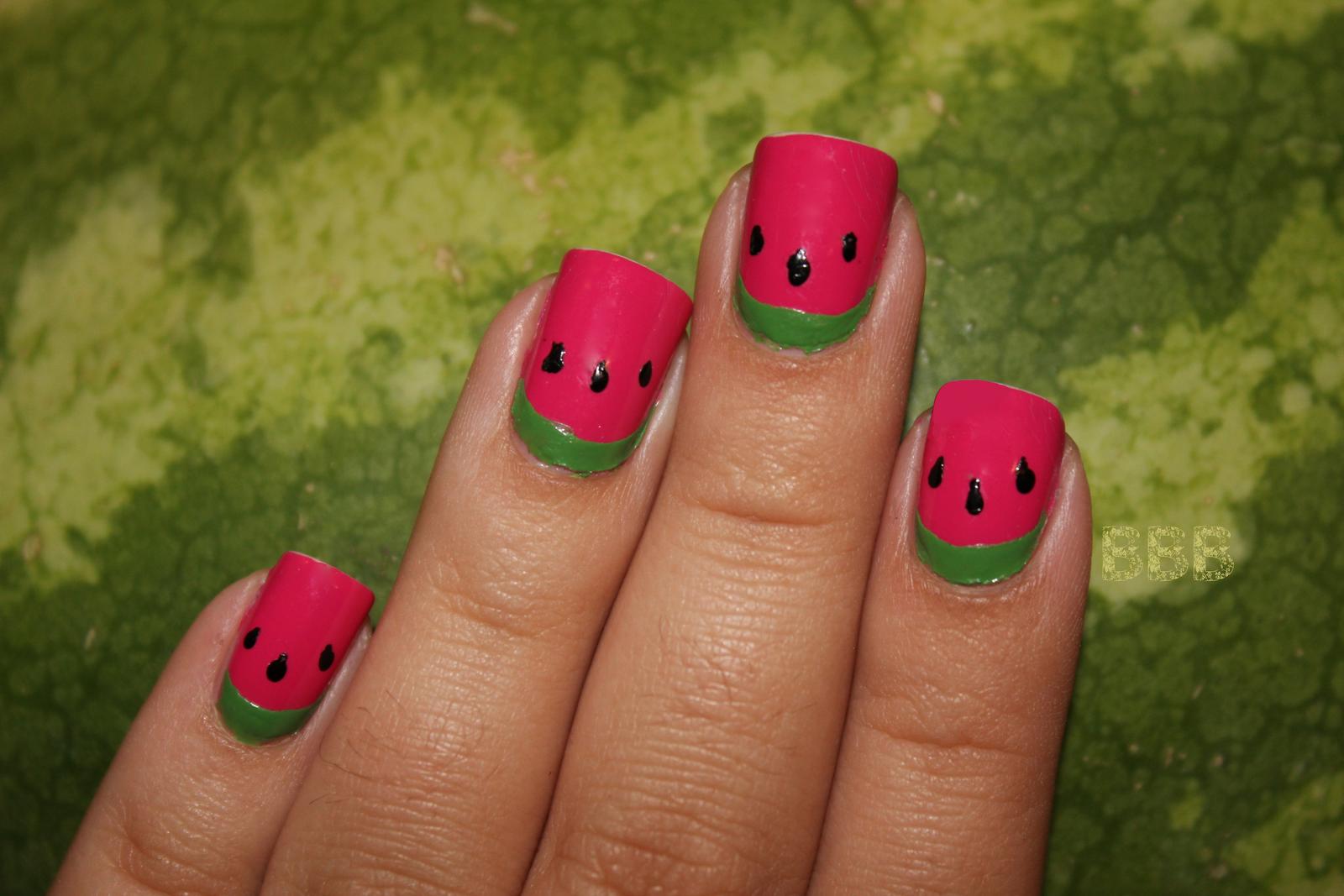 Watermelon Ruffian mani!! Such a good idea!!