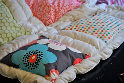 """""""Cheater"""" quilt! Sew squares on a down comforter! DONE. Have an old on"""
