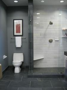 This is what I want for our master bath - slate floors, subway tile shower and i