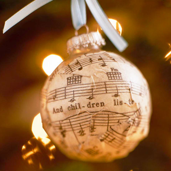 Sheet Music Ornament Ball -   Easy Christmas Ornaments
