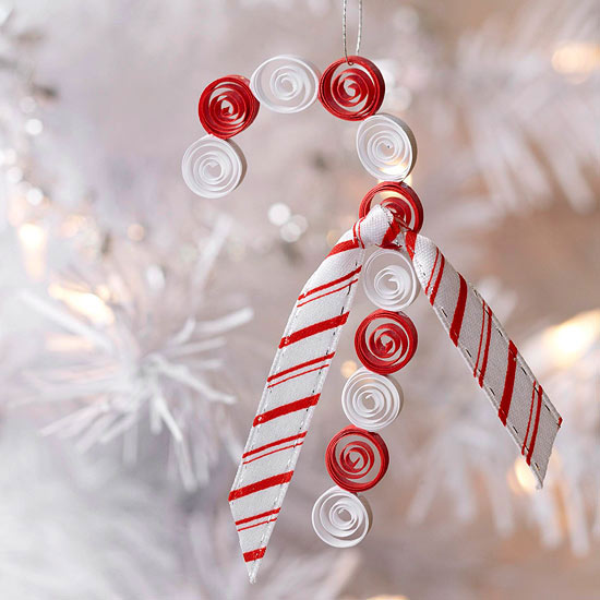 Quilled Candy Cane -   Easy Christmas Ornaments