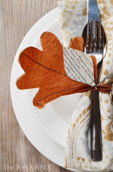 DIY Napkin ring -   HOME DECORATIONS WITH FALL LEAVES