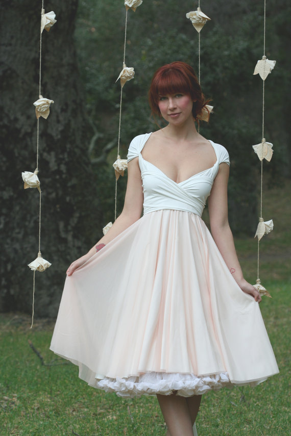 Avalon Peach Chiffon with Seagull White by CoralieBeatrix on Etsy, $124.99