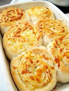 Garlic Cheese Rolls (made with pizza dough, garlic butter, and mozzarella cheese