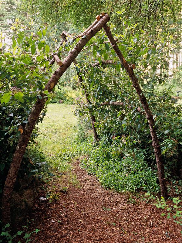 Rustic garden arbor