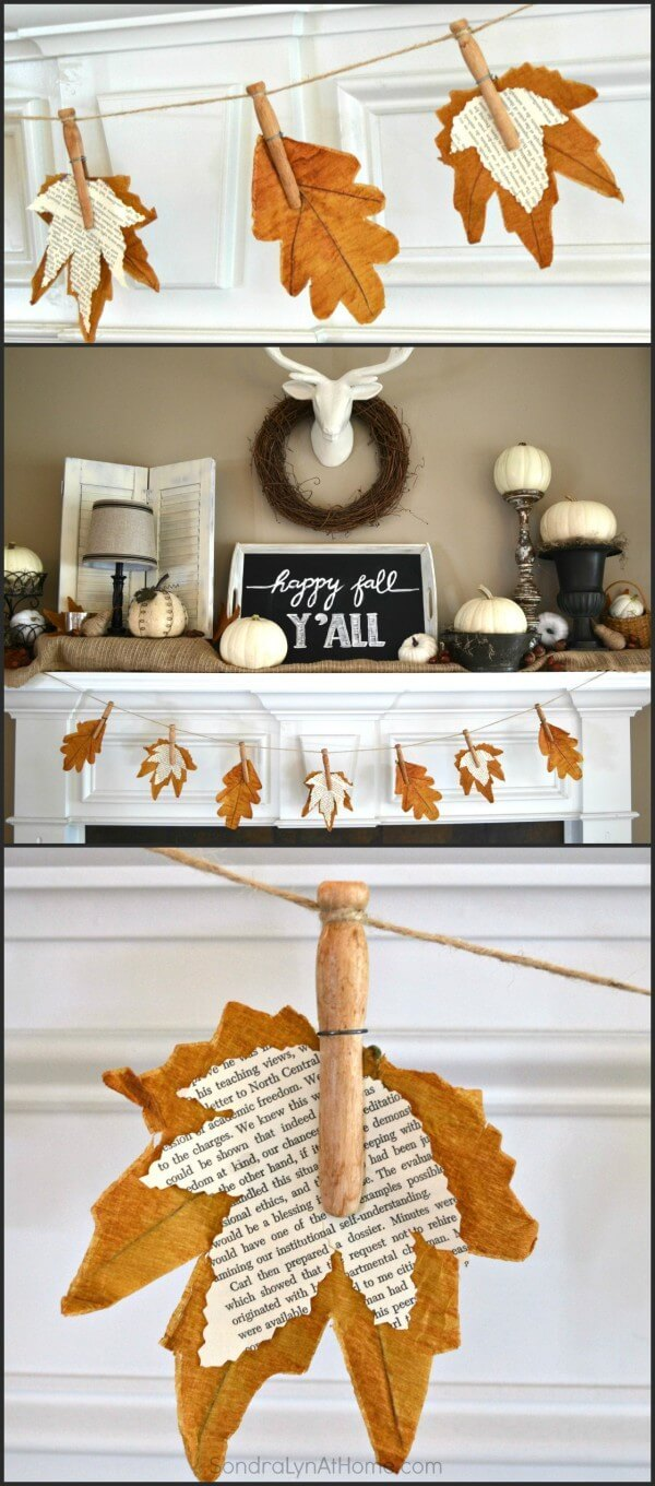 Fall banner with book page leaves -   HOME DECORATIONS WITH FALL LEAVES