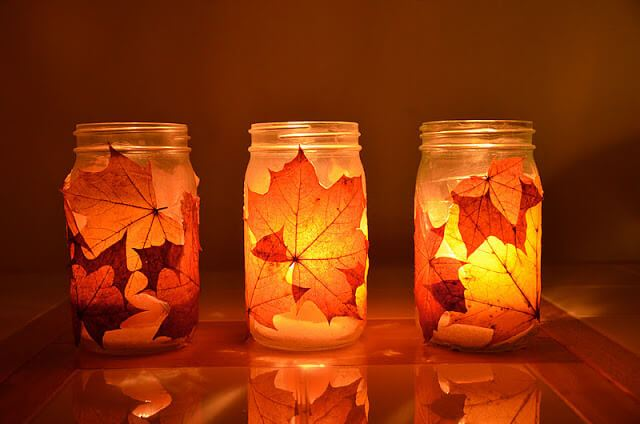 Autumn Lantern -   HOME DECORATIONS WITH FALL LEAVES