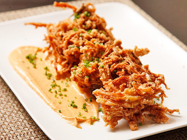 Crispy Enoki and Onion Fritters with Thai Curry Mayo