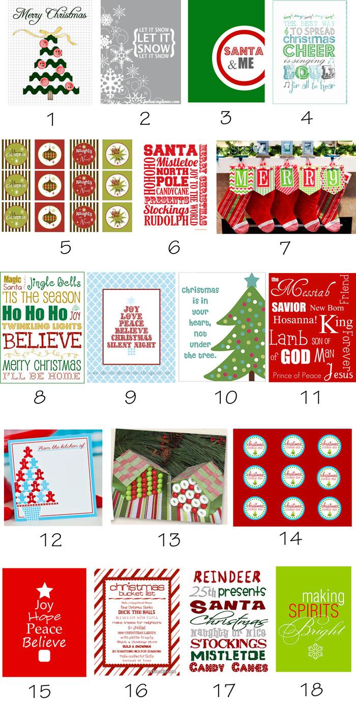 {Holiday Roundup} 53 Free Christmas Printables