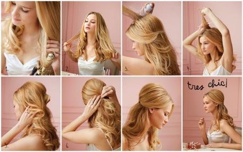 volume back-pulled hair