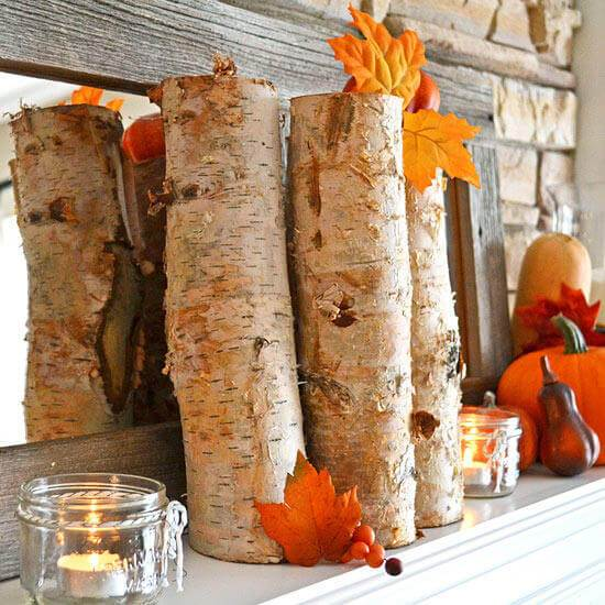 Fall-Inspired Mantel with Earthy Accents -   HOME DECORATIONS WITH FALL LEAVES