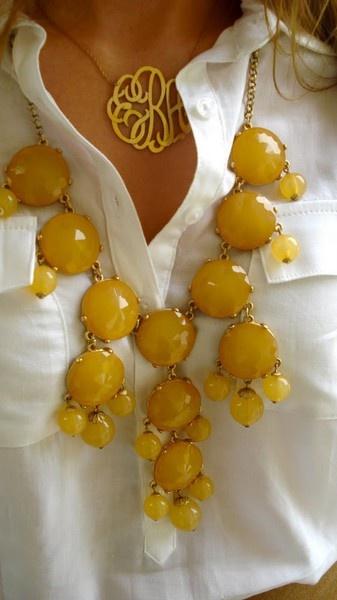 bubble necklace & monogram necklace
