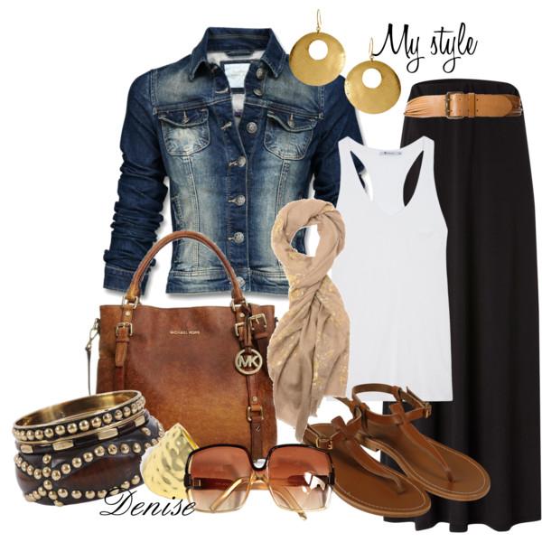 Black Maxi Skirt, white tank, distressed jean jacket, awesome MK satchel