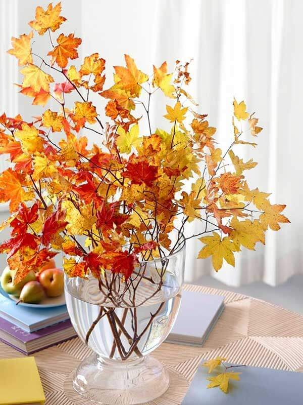Fall Leaves Vase -   HOME DECORATIONS WITH FALL LEAVES